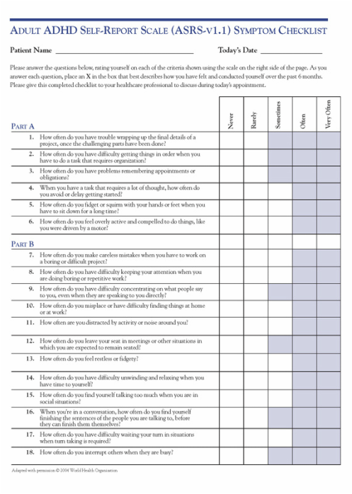 6-question adult self-report scale